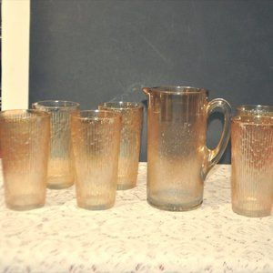 Marigold Carnival Tree Bark Pitcher and Glasses